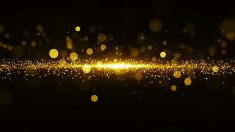 Abstract golden background with light in center and particles. Starburst with sparks, seamless loop texture.