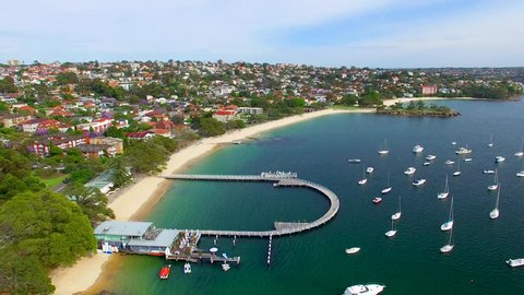 Balmoral Beach boats in the port, Australia. Aerial view.