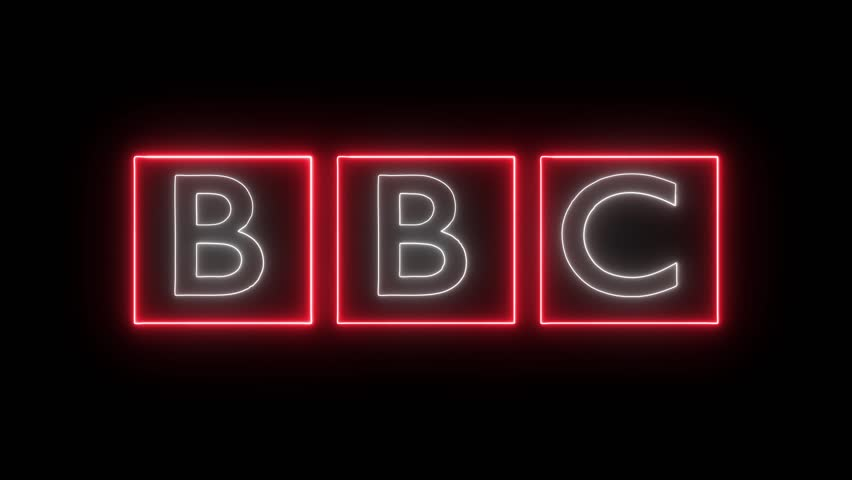 BBC logo with neon lights. Editorial animation.