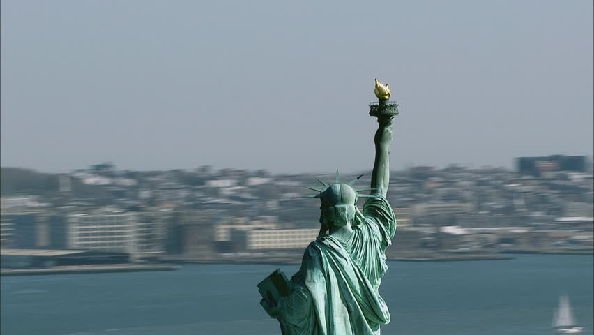 WS AERIAL Cityscape with Statue of Liberty / New York, New York State, USA | Shutterstock HD Video #32523514