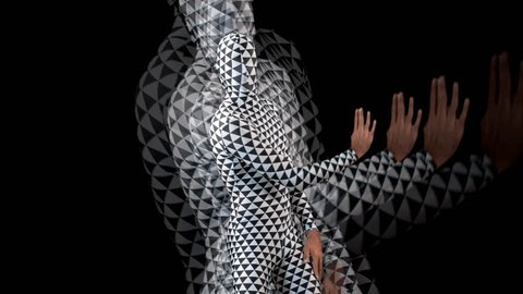 a skillful male dancer dancing in a contemporary style in a triangular pattern body suit with triangle background to make a hypnotic effect