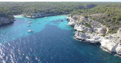 Amazing beach Aerial View in Menorca (Baleares)