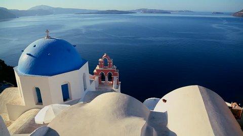 SANTORINI, GREECE 2012 Pan across Greek Orthodox church on the Greek island of Santorini.