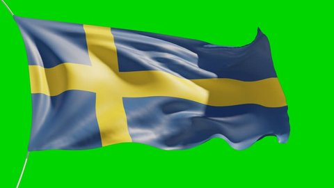 25 seconds fluttering Sweden National flag 4K animation footage with green background for keying