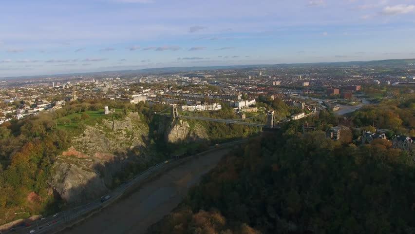 Clifton Suspension Bridge & Bristol City Scape, Aerial Drone Shot, Autumn Colors