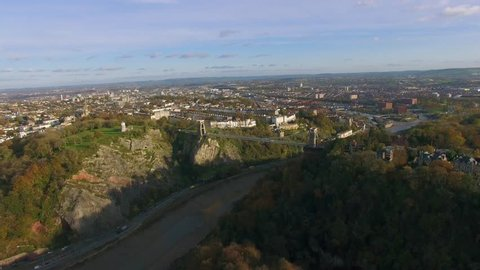 Clifton Suspension Bridge & Bristol City Scape, Aerial Drone Shot, Autumn Colors