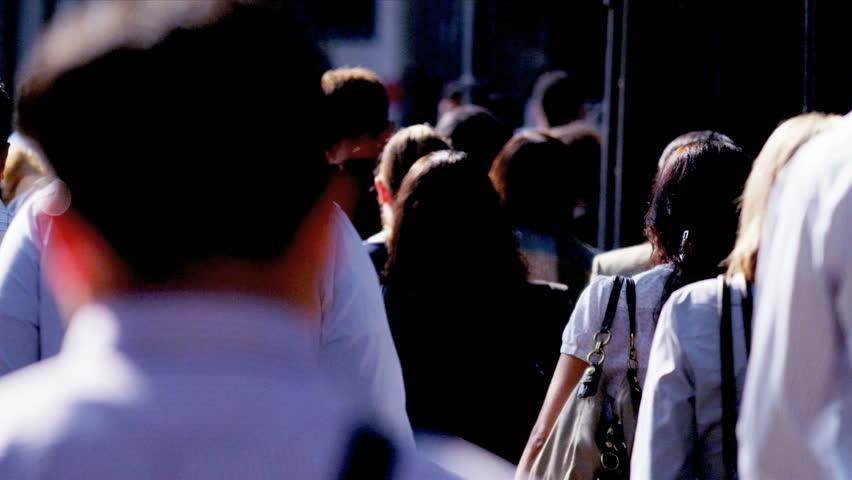 New York - August 21, 2012: Business commuters on busy city sidewalk    Shutterstock HD Video #3258994