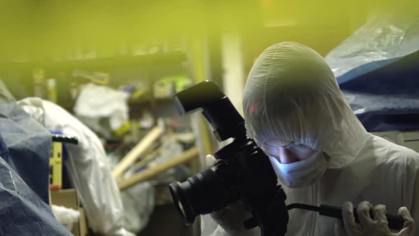 Forensics Crime Scene Police Photographer, Murder Investigation At ...
