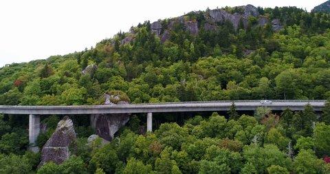 Drone aerial view North Carolina USA Smoky Mountains Blue Ridge Bakersville Cataloochee Valley