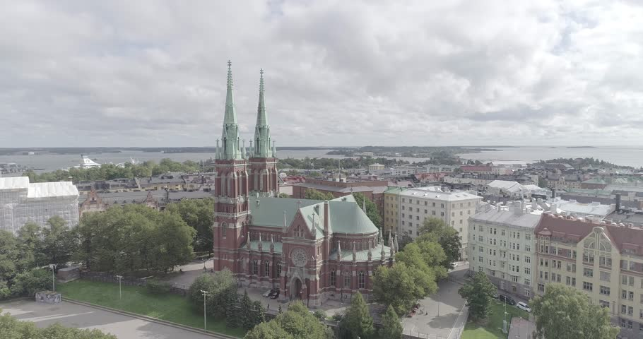 HELSINKI, JUNE 25, 2017. An aerial view of St. John's Church in Helsinki on June 25th 2017. | Shutterstock HD Video #32652844