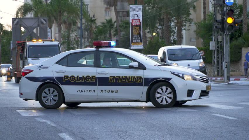 Beer Sheva, Israel -  22 June 2017:  An israeli  police car control road traffic