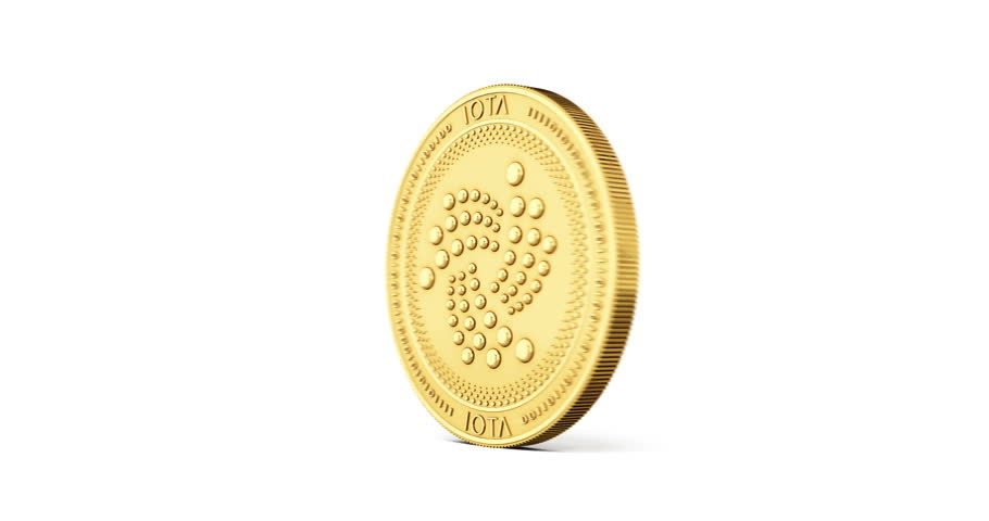 Golden IOTA coin spinning counterclockwise in perfect loop isolated on white background. 4K video. 3D rendering.