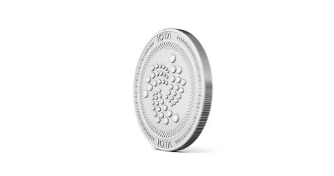 Silver IOTA coin spinning clockwise in perfect loop isolated on white background. 4K video. 3D rendering.