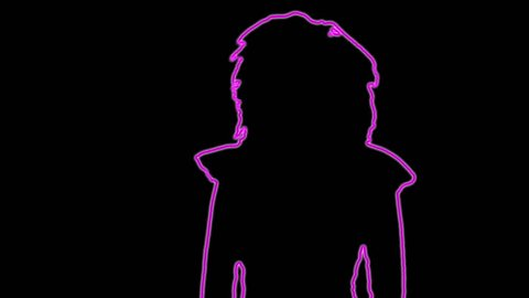 neon outlined gogo dancer silhouette in pink with light rays