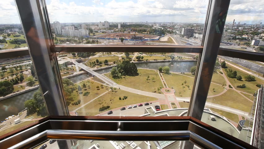 Glass elevator going down. Panoramic elevator at the National Library of Belarus, Minsk.