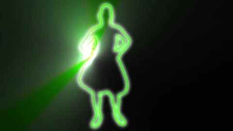 neon outlined gogo dancer silhouette in green with light rays