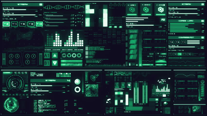 Cold blue futuristic interface/Digital screen/Detailed abstract background. Blinking and switching indicators of command center computer,processing data, AI. | Shutterstock HD Video #32728234