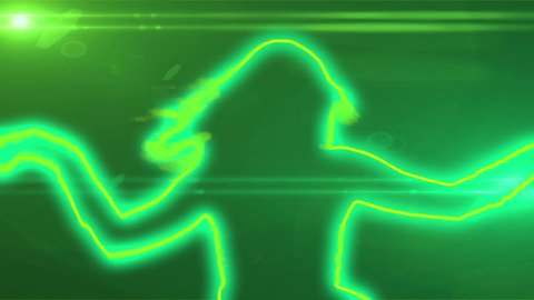 neon outlined gogo dancer silhouette in green with lens flares