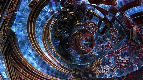 Small metal items 3d fractal of order chaos in future city. Civilization in galaxy spiral galaxy. Chaotic abstraction goes into black space. Close up high-tech settlement with glowing metal parts .