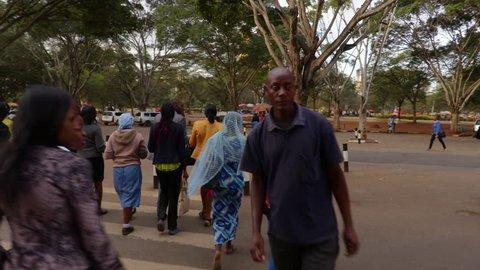 Gimbal shot of busy streets in Nairobi at peak hour. Kenya, Africa