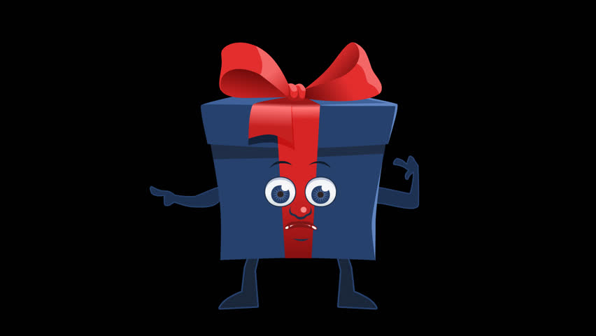 Blue Gift Box Pointer Left Bad Cartoon Animation with Alpha Channel | Shutterstock HD Video #32762524