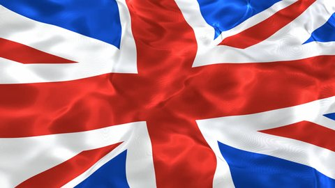 National textured flag of the United Kingdom of Great Britain and Northern Ireland 3D looping animation