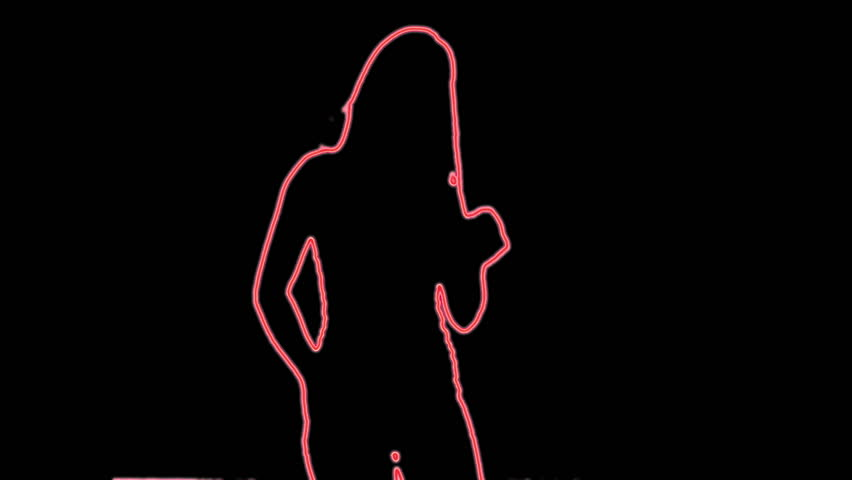 neon outlined gogo dancer silhouette in red