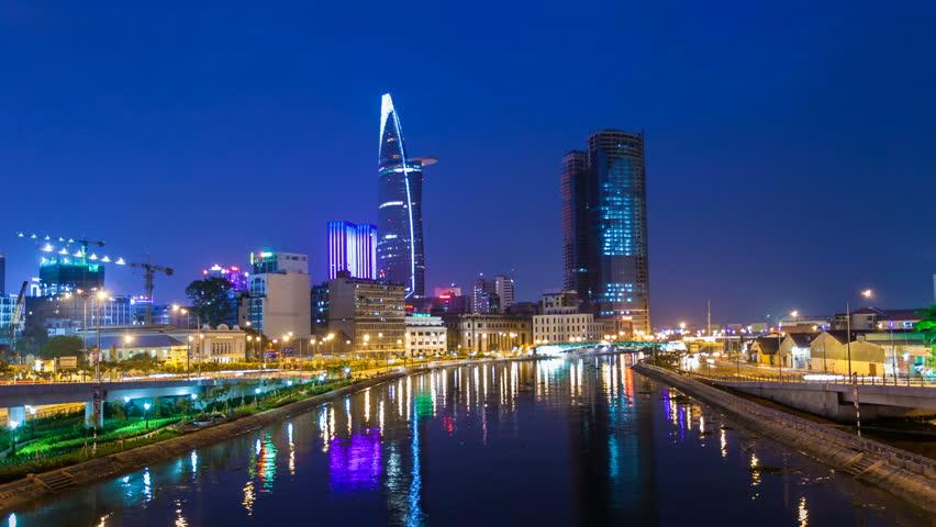 Ho Chi Minh City City Skyline Timelapse at night  | Shutterstock HD Video #3282704