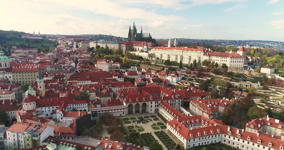 Panorama of Prague, aerial of the city, view from above on the cityscape of Prague, flight over the city, Area Old Town, Prague Castle and Vltava River, Czech Republic, Prague, October 2017 | Shutterstock HD Video #32827774