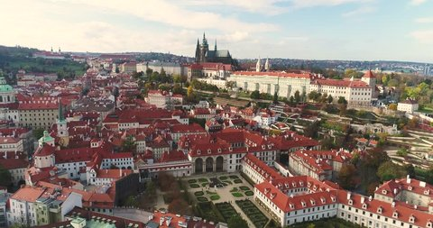 Panorama of Prague, aerial of the city, view from above on the cityscape of Prague, flight over the city, Area Old Town, Prague Castle and Vltava River, Czech Republic, Prague, October 2017
