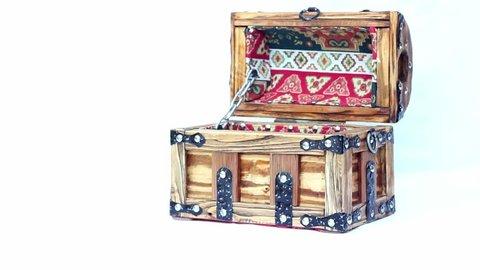 Armenian jewelleri box handmade with armenian oranments, armenian taraz. Armenia national figures, Wooden chest for decorations, an old Armenians chest. Handmade wooden jewellery box.Isolated, UHD.