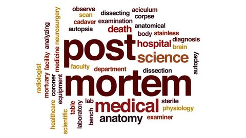 Post mortem animated word cloud, text design animation.