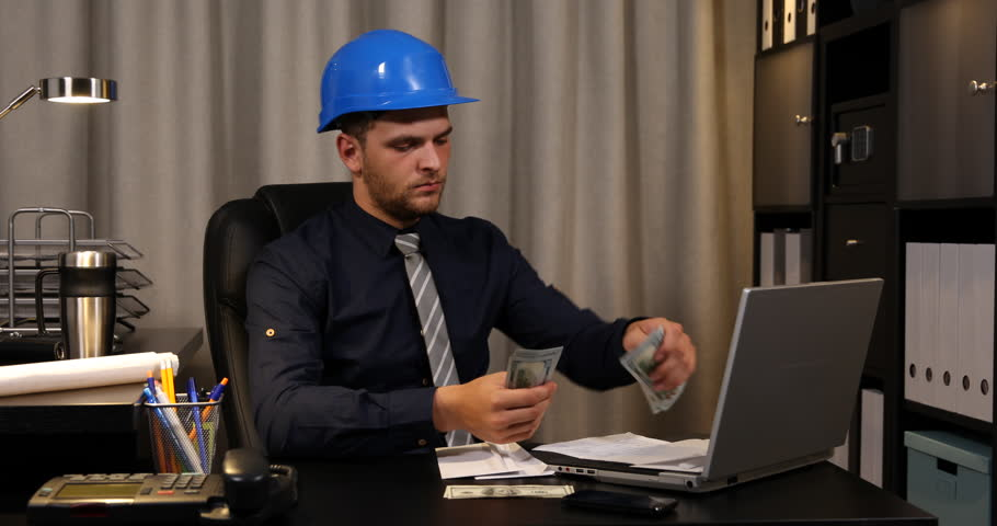 Master Engineer Male Checking Receipt and Usd Bills Money Paying Office Invoices | Shutterstock HD Video #32838712