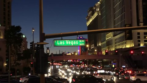 Street sign Las Vegas Boulevard by night - LAS VEGAS / NEVADA - OCTOBER 12, 2017