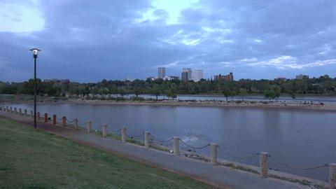 Arkansas River at Tulsa Oklahoma - TULSA / OKLAHOMA - OCTOBER 21, 2017