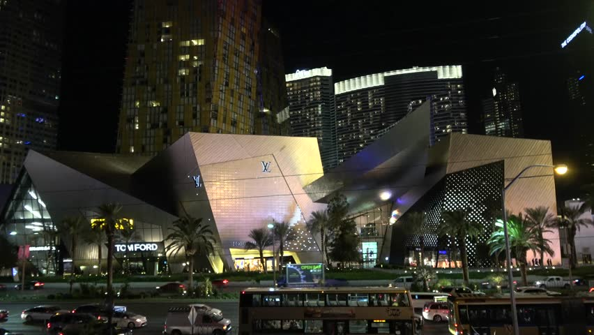 Crystals Shopping Center at Las Vegas Boulevard at night - LAS VEGAS / NEVADA - OCTOBER 12, 2017 | Shutterstock HD Video #32843761
