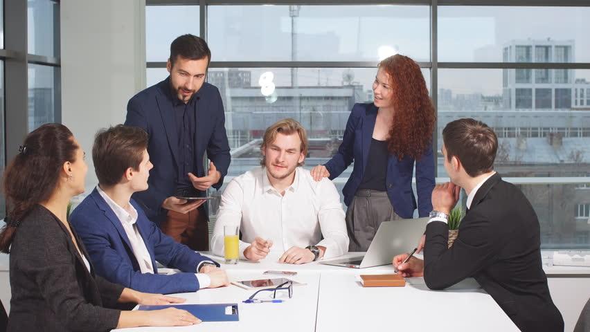 Workteam meeting in the office. | Shutterstock HD Video #32855608