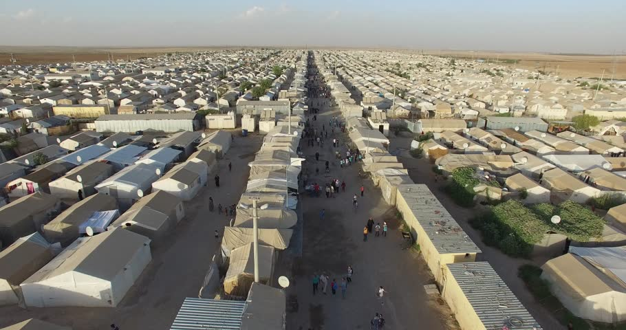 Aerial shot of  syrian refugees camp in Sanliurfa, Turkey. | Shutterstock HD Video #32860324
