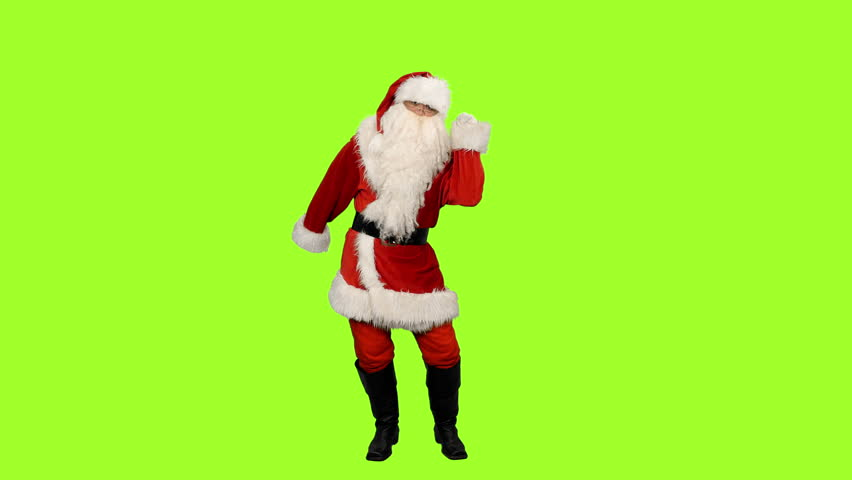 Santa Claus dancing at Christmas party on green background, Chroma key, 4k footage