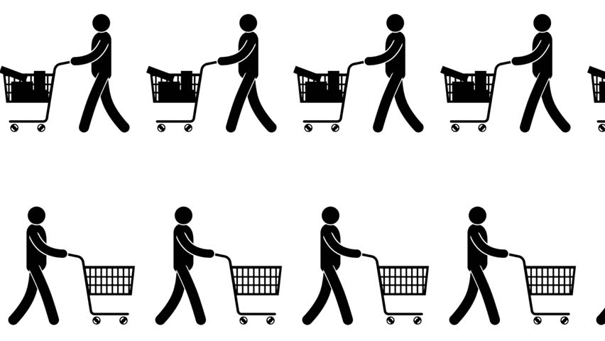 Pictograms people buyers with empty and full carts go one after another - an animated pattern. | Shutterstock HD Video #32869072