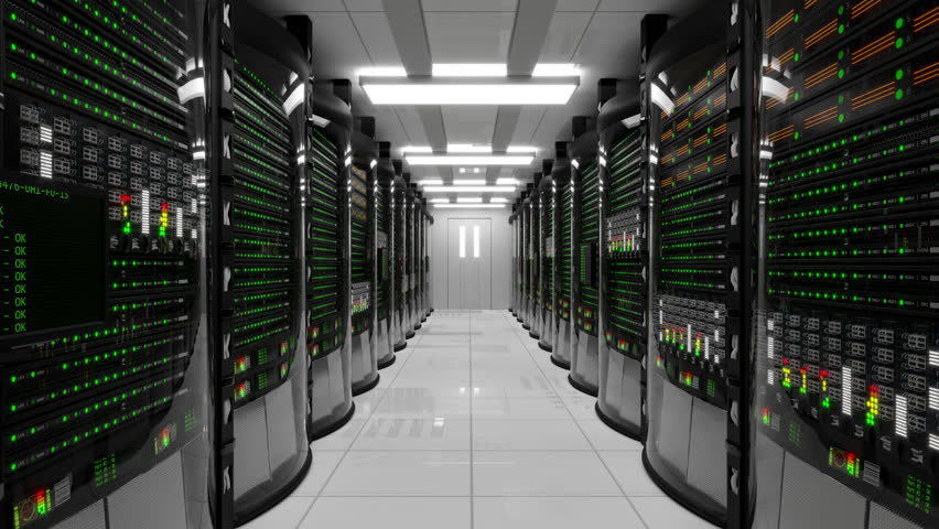 Modern working server room with rack servers. Cloud computing in datacenter, information storage, normal operation of computer with flashing green light indicators and server error with red indicators | Shutterstock HD Video #32875744