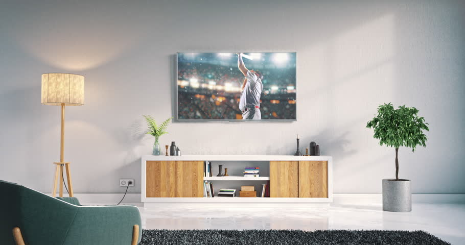 Footage Of A Living Room Led Tv On White Wall Showing Sport Fans 3D