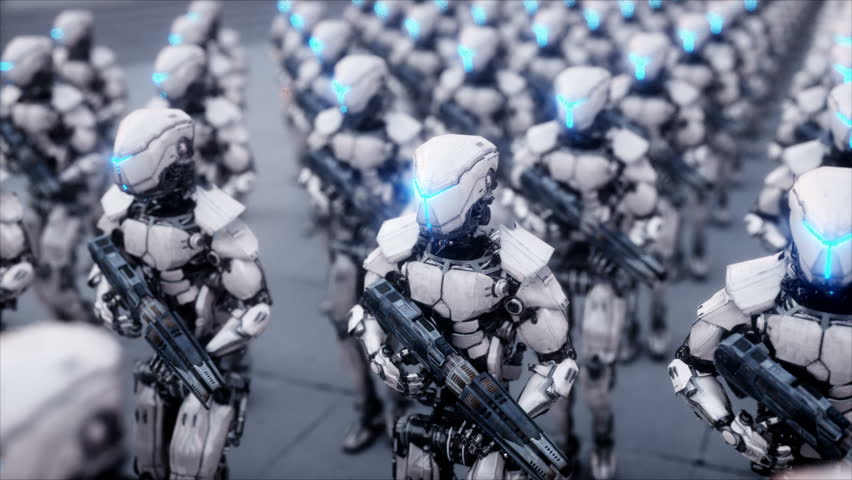 Invasion of military robots. Dramatic apocalypse super realistic concept. Future. 4k animation. | Shutterstock HD Video #32877244
