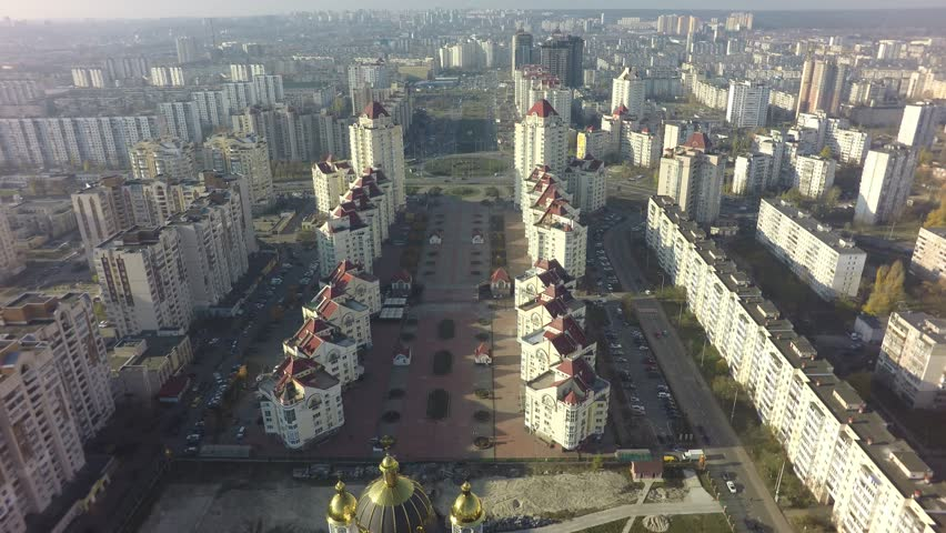Aerial view of Obolon district in Kiev at autumn, raw | Shutterstock HD Video #32879038