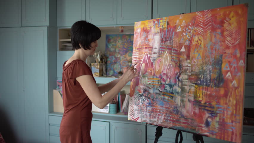 Professional Woman Artist Painting An Stock Footage Video 100 Royalty Free 32898874 Shutterstock