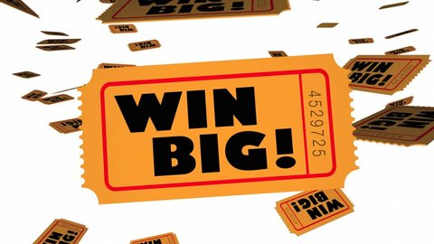 Win Big Tickets Falling Enter Contest Winner 3d Animation
