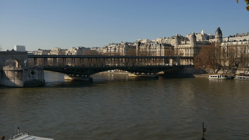 France, Paris in winter - Parisian metros crossing on a bridge | Shutterstock HD Video #32966494