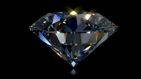 Big crystal clear round brilliant cut diamond standing on its point rotates on black mirror background. Close-up side view. Seamless loop 3D animation