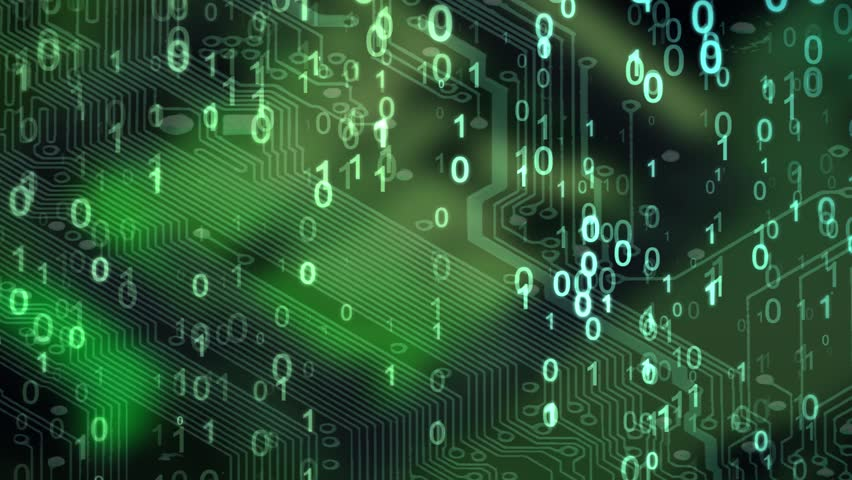 Abstract Technology Background. Web Developer. Computer Code. Programming. Coding. Hacker concept. Green neon binary figures 0 and 1 fall from top to bottom on the circuit board. | Shutterstock HD Video #32972854