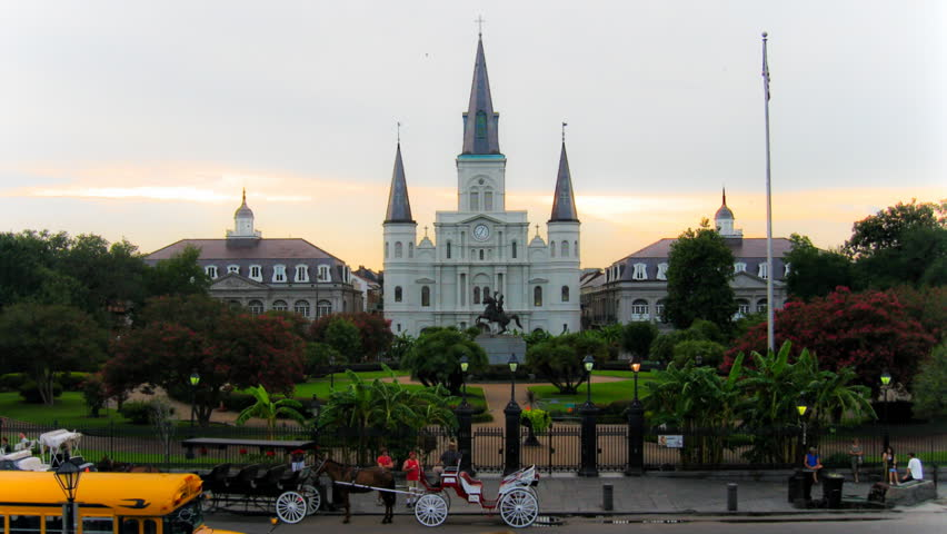 NEW ORLEANS - CIRCA JULY 2011: (Timelapse view) Jackson Square Cathedral, circa
